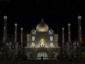 Taj Mahal at night by laser
